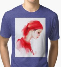 Fashion woman profile portrait  Tri-blend T-Shirt