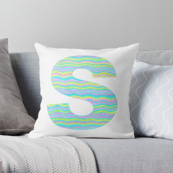 Letter S Neon Wavy Stripe Pattern Monogram Initial Throw Pillow