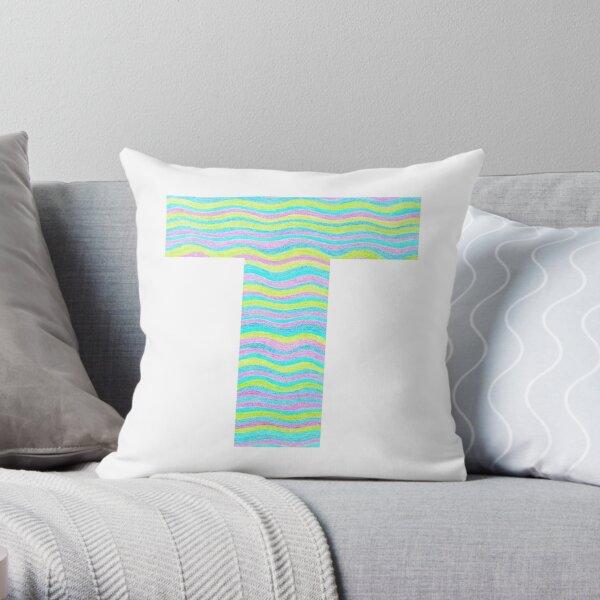 Letter T Neon Wavy Stripe Pattern Monogram Initial Throw Pillow