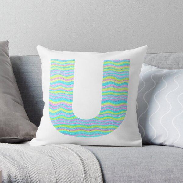 Letter U Neon Wavy Stripe Pattern Monogram Initial Throw Pillow