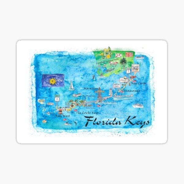 Florida Keys Key West Marathon Key Largo Illustrated Travel Poster Favorite Map Tourist Highlights Sticker