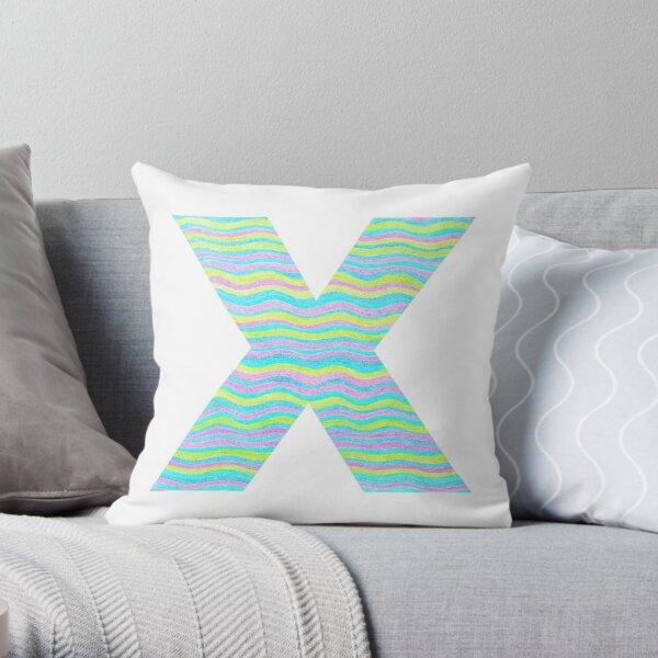 Letter X Neon Wavy Stripe Pattern Monogram Initial Throw Pillow