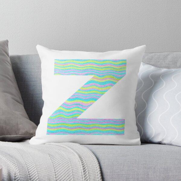 Letter Z Neon Wavy Stripe Pattern Monogram Initial Throw Pillow