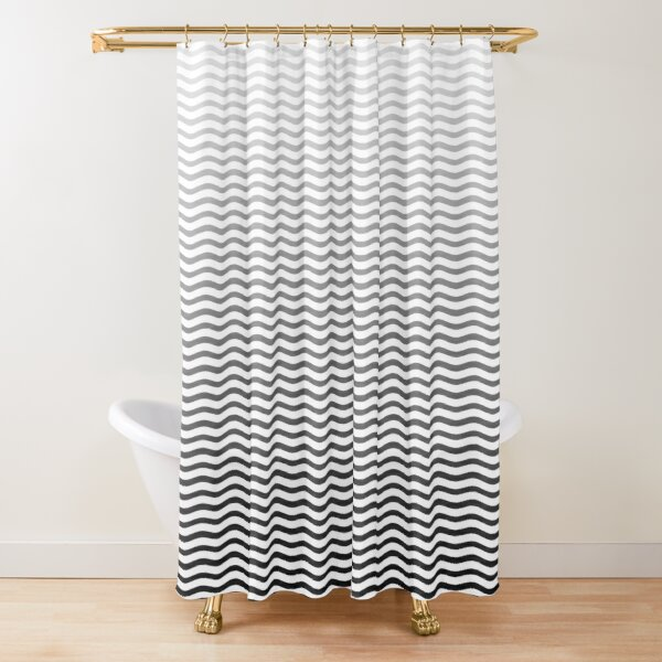 Black And White Fade Ombre Shaded Wavy Wave ZigZag Stripe Shower Curtain