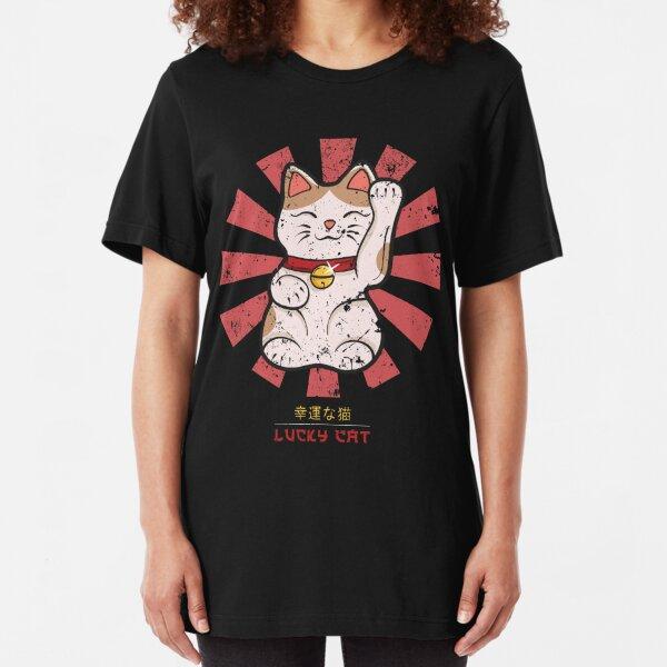 Lucky Cat Retro Japanese Slim Fit T-Shirt