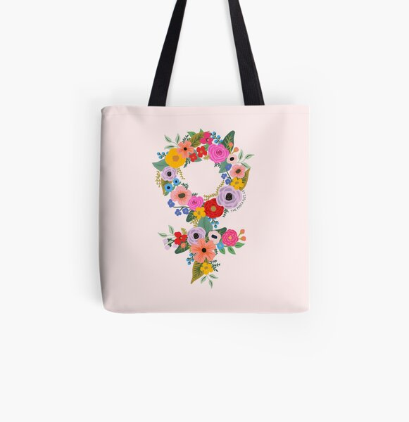 Feminista floral - The Peach Fuzz Bolsa estampada de tela