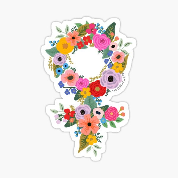 Floral Feminist - The Peach Fuzz Sticker