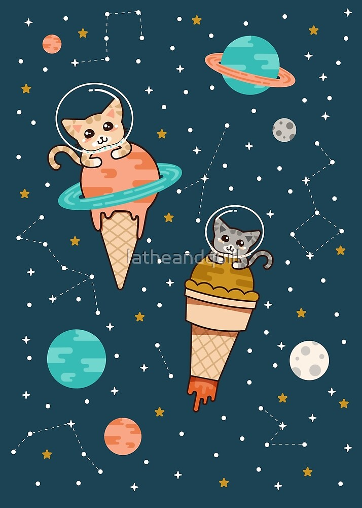 Cats Floating on Ice Cream in Space by latheandquill