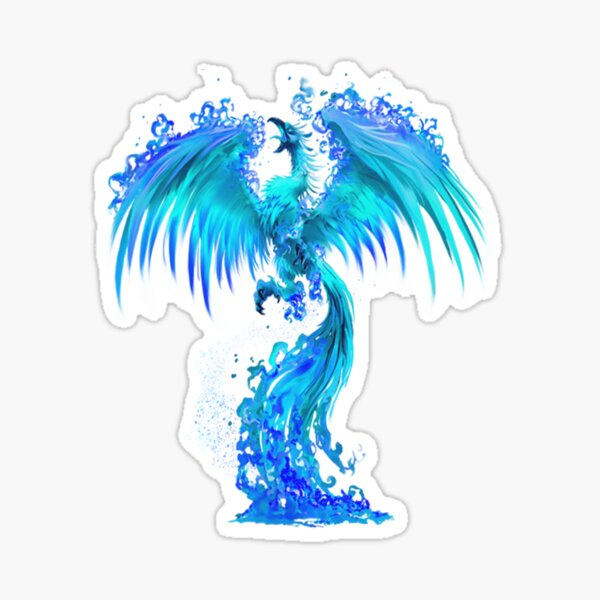 Fantasy Blue Ice Phoenix Rises From The Fiery Ashes Sticker