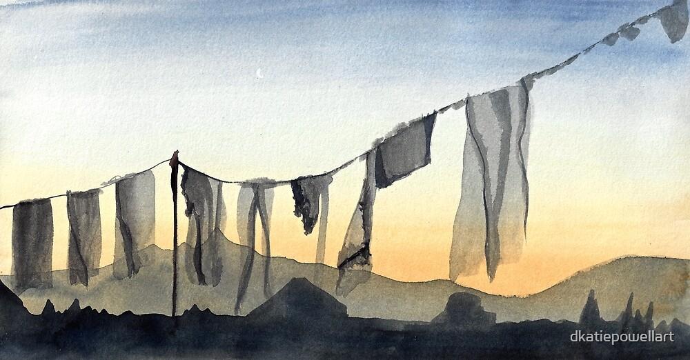 PRAYER FLAGS AT SUNSET by dkatiepowellart