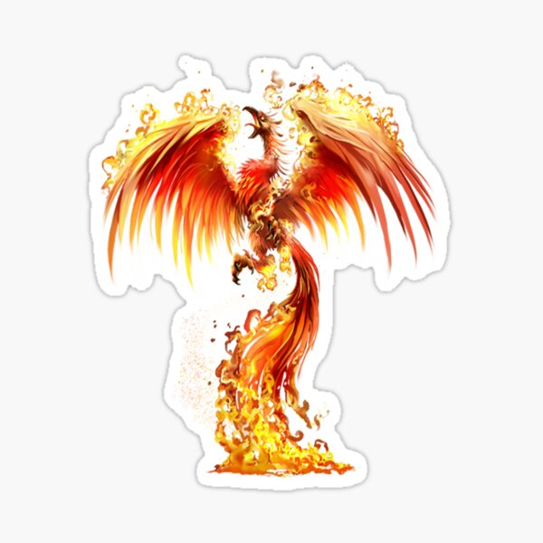 Fantasy Orange Fire Phoenix Rises From The Fiery Ashes Sticker