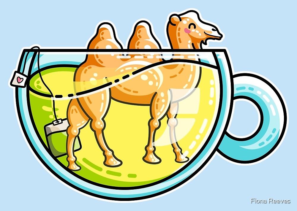 Camel-Mile-Tea Kawaii Cute Chamomile Tea Pun by Fiona Reeves