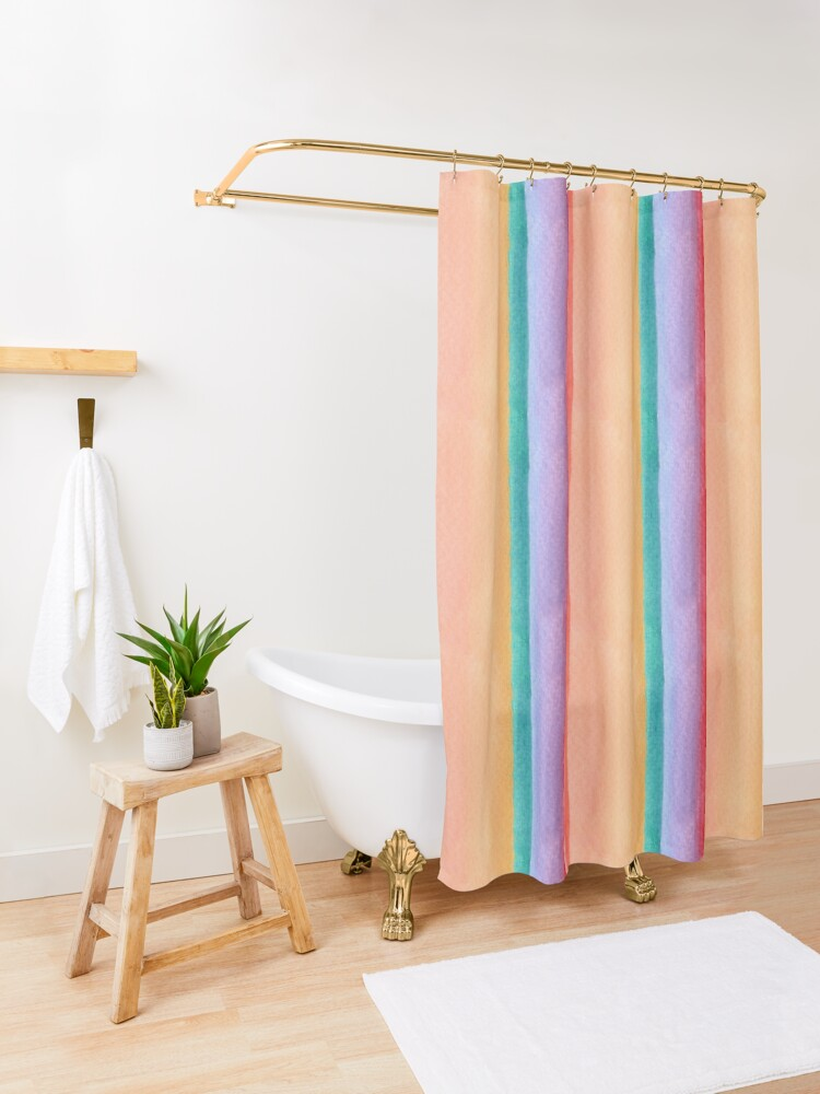 Alternate view of Rainbow stripe design Shower Curtain