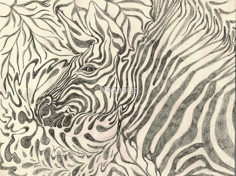Zebra portrait in graphite by Naquaiya