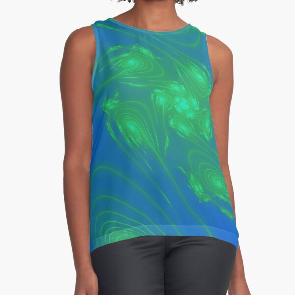 Fractal, Tie dye, hippy, Green Blue Flower Array Sleeveless Top