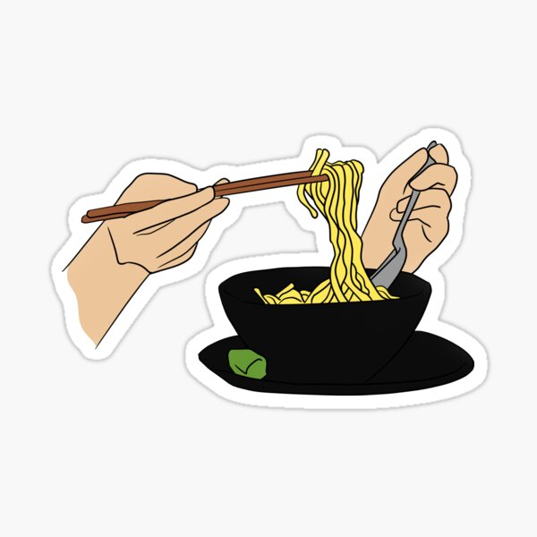 Eating Noodles Sticker