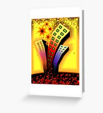 Multi-storeyed  building in an amusing environment Greeting Card