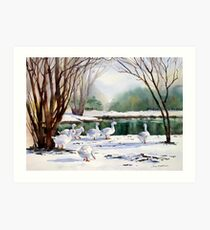 Geese in the Snow Art Print