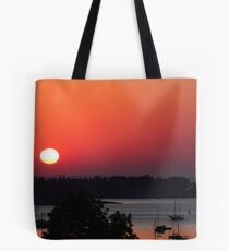 Orange Sky Sunrise over Mount Desert Island, Maine Tote Bag