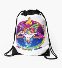 1997 Rainbow Neon Goat Head Pentagram Not Today Jesus Drawstring Bag