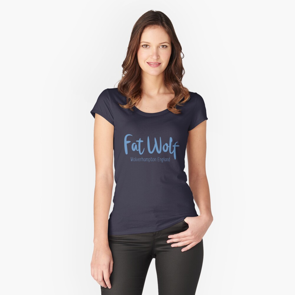 Fat Wolf Logo (Blue) Fitted Scoop T-Shirt