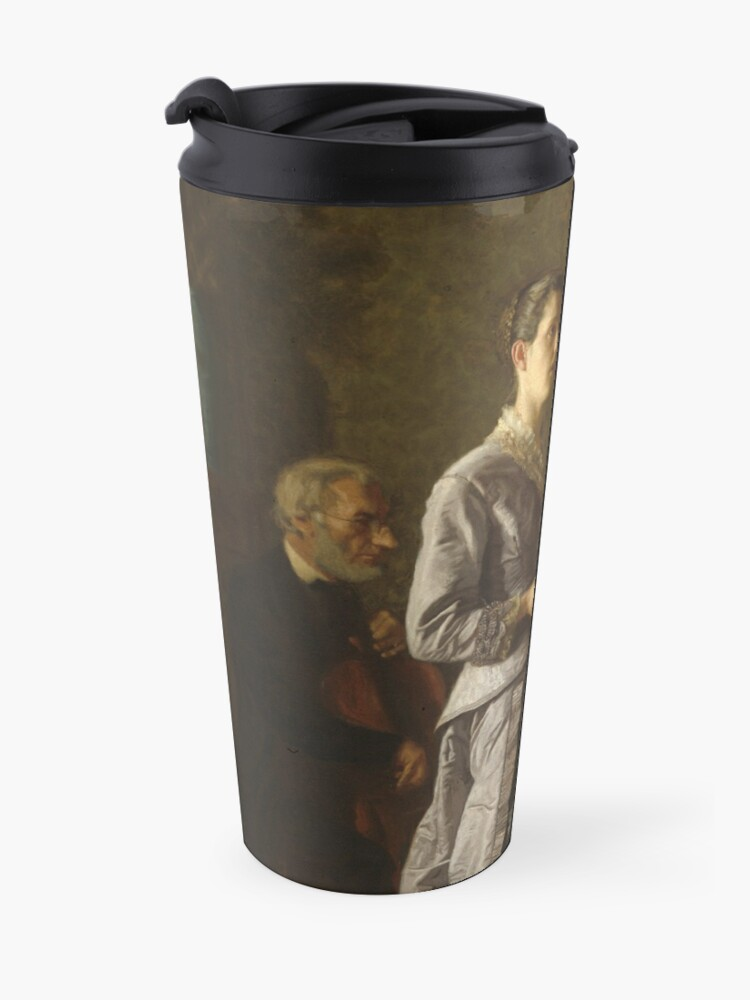 Alternate view of Singing a Pathetic Song Oil Painting by Thomas Eakins Travel Mug