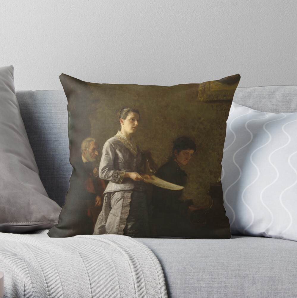 Singing a Pathetic Song Oil Painting by Thomas Eakins Throw Pillow