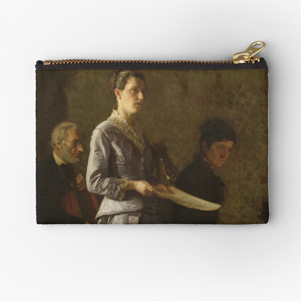 Singing a Pathetic Song Oil Painting by Thomas Eakins Zipper Pouch