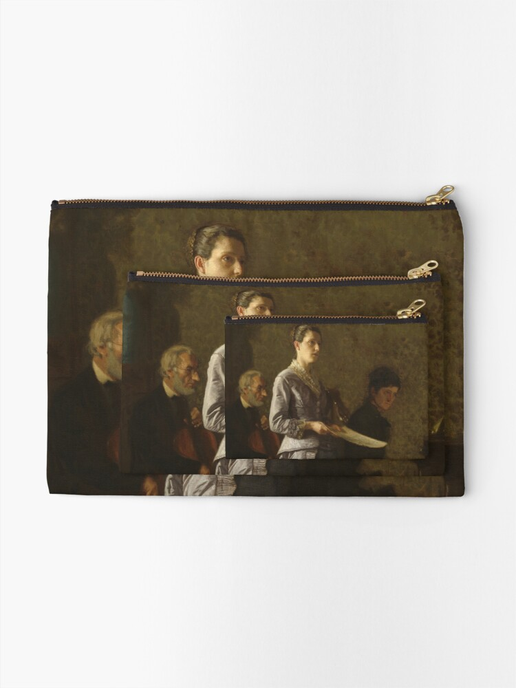 Alternate view of Singing a Pathetic Song Oil Painting by Thomas Eakins Zipper Pouch
