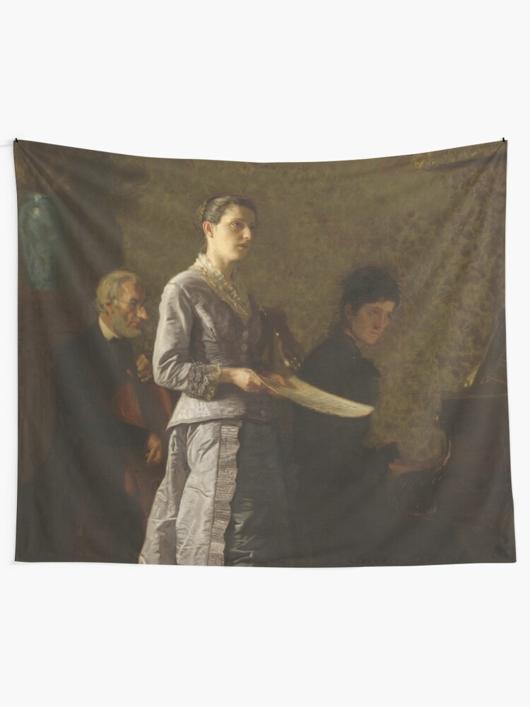 Alternate view of Singing a Pathetic Song Oil Painting by Thomas Eakins Tapestry