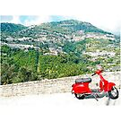 Ravello: landscape with red scooter by Giuseppe Cocco