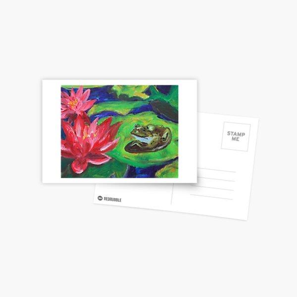 Frog among lily pads Postcard