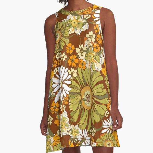 70er Jahre Retro Vintage Flower Power Muster A-Linien Kleid