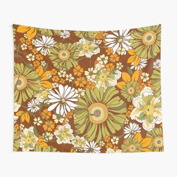 70s Retro Vintage Flower Power pattern Tapestry