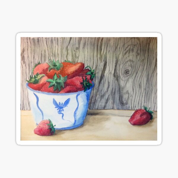 Bowl of Strawberries Sticker