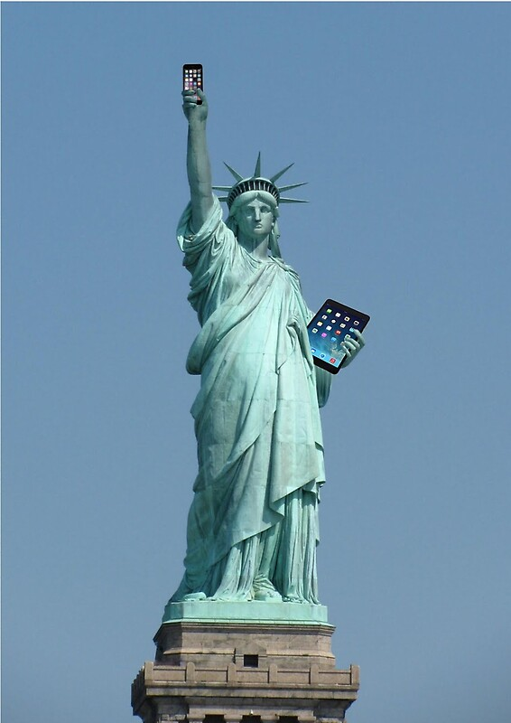 Quot Statue Of Liberty Holding Mobile Amp Ipad Quot By Sugarmaiden