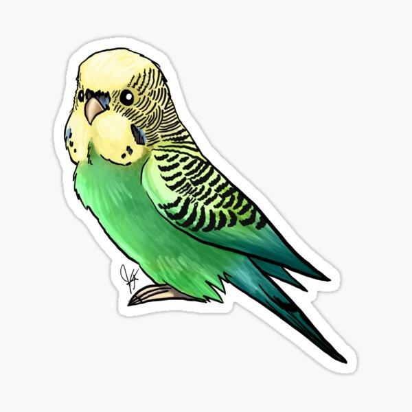 Green and Yellow Parakeet Sticker