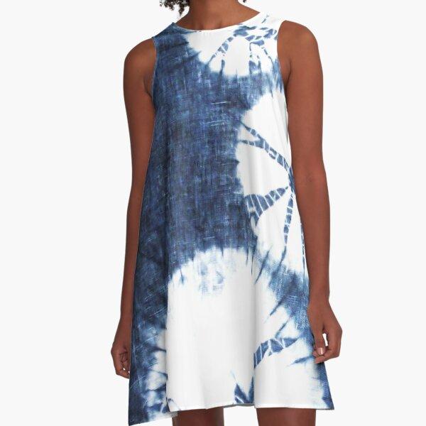 Shibori Indigo Circles A-Line Dress