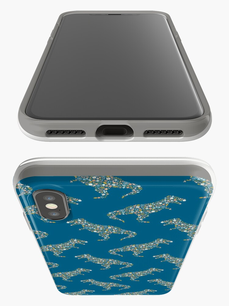 Alternate view of Floral T-Rex in Blue + Coral iPhone Case & Cover