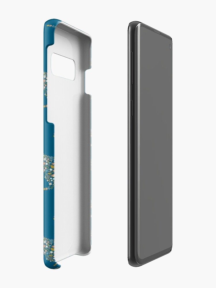 Alternate view of Floral T-Rex in Blue + Coral Case & Skin for Samsung Galaxy