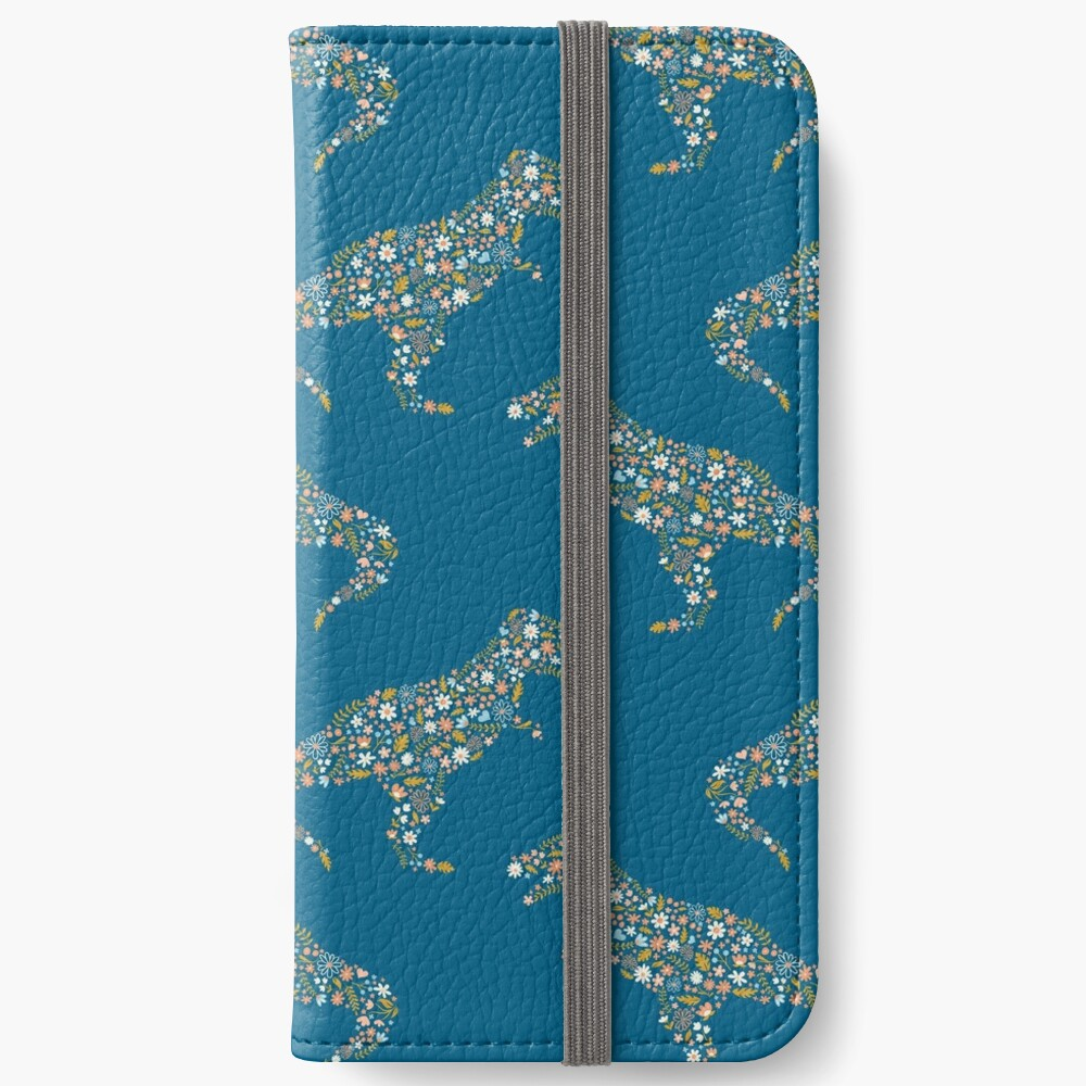 Floral T-Rex in Blue + Coral iPhone Wallet