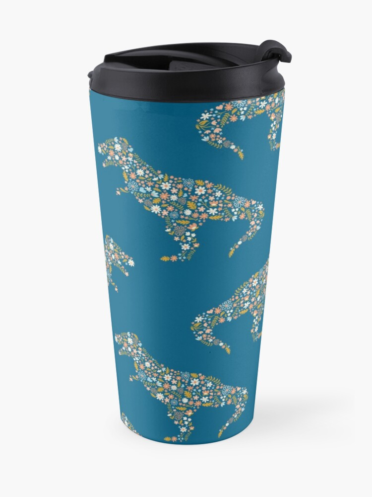 Alternate view of Floral T-Rex in Blue + Coral Travel Mug