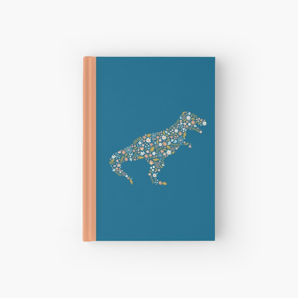 Floral T-Rex in Blue + Coral Hardcover Journal