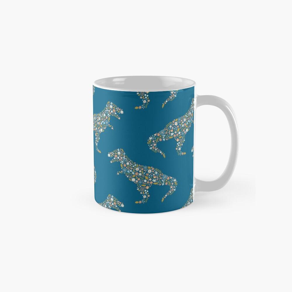 Floral T-Rex in Blue + Coral Mug