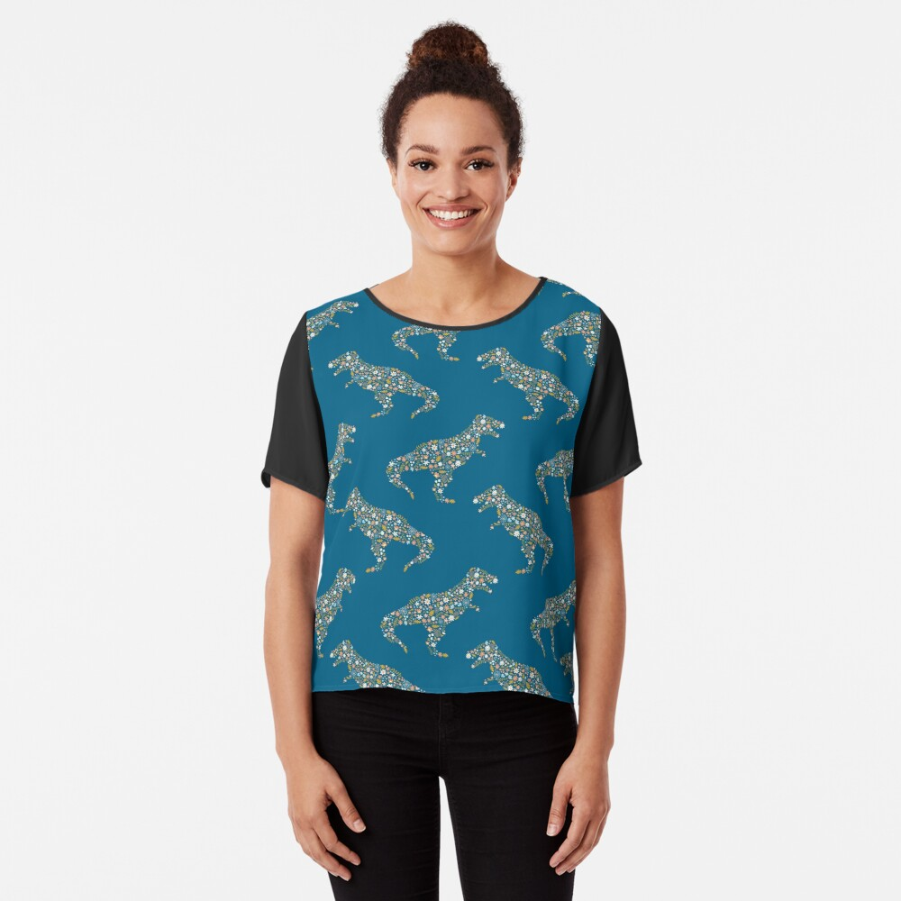Floral T-Rex in Blue + Coral Chiffon Top