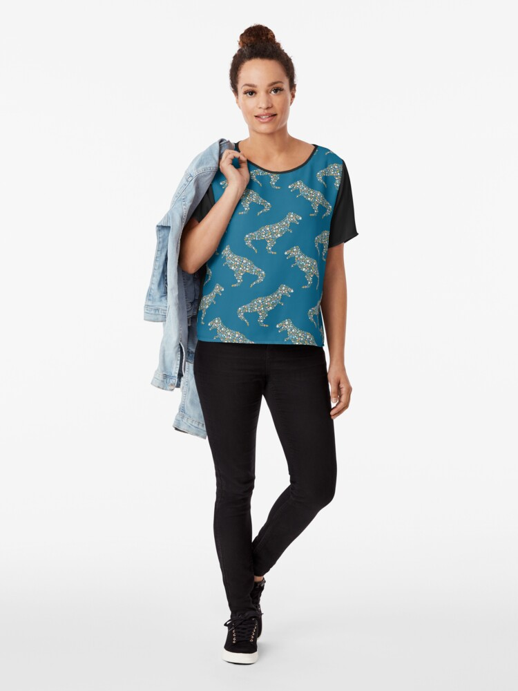 Alternate view of Floral T-Rex in Blue + Coral Chiffon Top