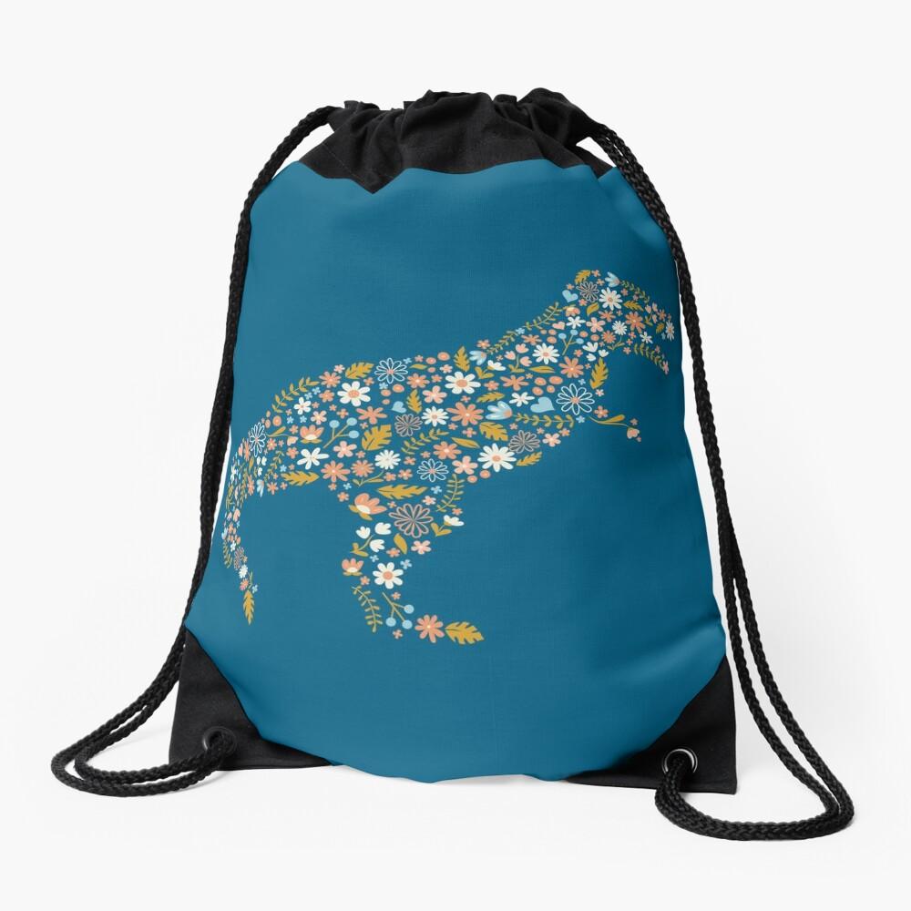 Floral T-Rex in Blue + Coral Drawstring Bag