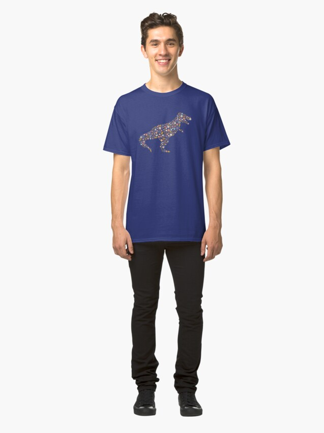Alternate view of Floral T-Rex in Blue + Coral Classic T-Shirt