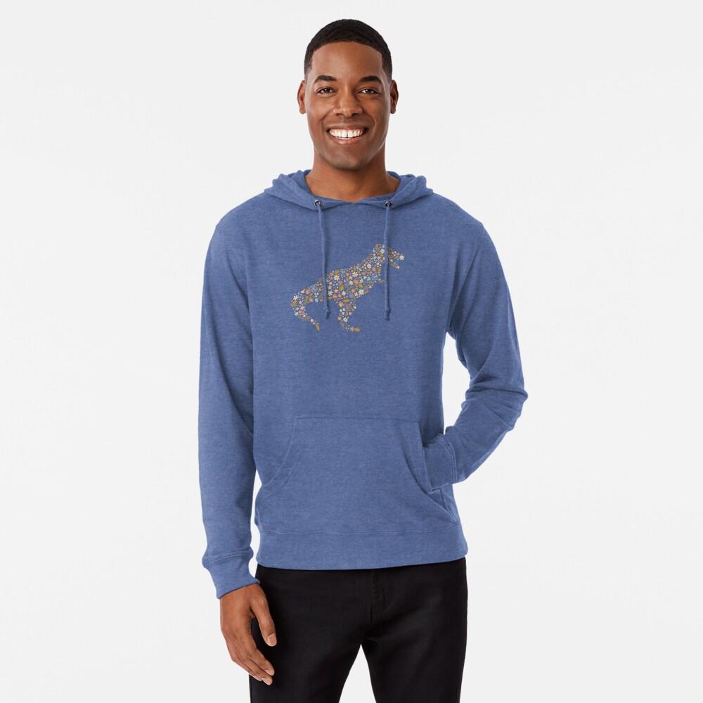 Floral T-Rex in Blue + Coral Lightweight Hoodie