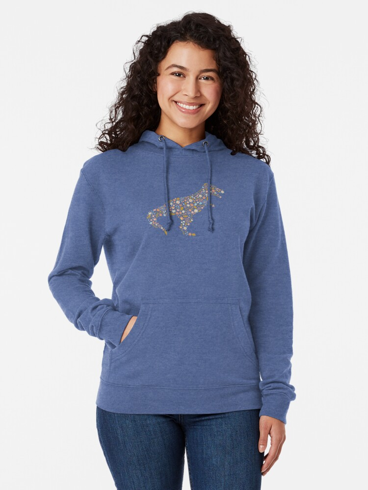 Alternate view of Floral T-Rex in Blue + Coral Lightweight Hoodie